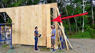 Couple Build Post & Beam Garage Custom Siding the Front of the Garage Build Day 12