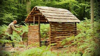 Building a Roofed shelter in the woods with Hand Tools - Part 2