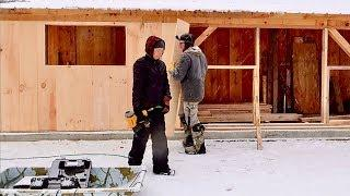We weren't EXPECTING this! Siding the Post & Beam barn in the SNOW