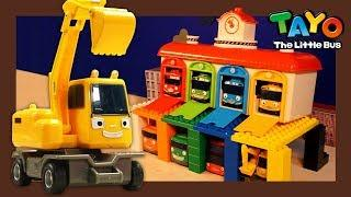 Let's Build a Bus Garage with Poco the Excavator l Heavy Vehicles Lego Play l Tayo the Little Bus