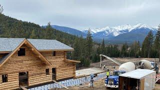 Pouring concrete over root cellar and greenhouse- Montana Homestead Part 12