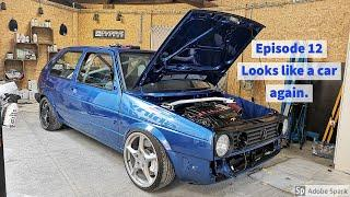 "D WORKZ GARAGE - Mk2 R32 car build - EPISODE 12 ""Looks like a car again"""
