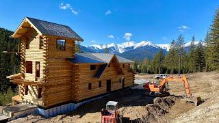 Backfilling log home basement, root cellar and greenhouse foundation- Montana Homestead Part 13