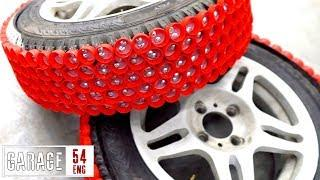 Using 600 bottle caps as tire studs