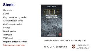 Steels: the first bulk nanostructured steel. Lecture 12 of 12