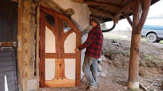 Off Grid Earthbag Workshop Part 46 Hobbit door from reclaimed materials