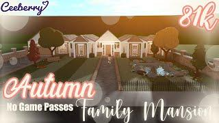 Bloxburg | Autumn Family Mansion 81k No Game Passes | Speed Build