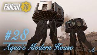 Fallout 76 Camp Build Design - Aqua's Modern House #28 (Modern UFO/spaceship style house build)