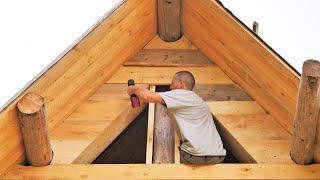 Building Off Grid LOG CABIN / Closing the A-Frame  (S 2 Ep 15)