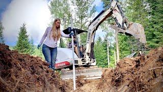 Couple Builds Off Grid Dream Home - Digging Footers for the Garage