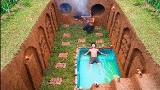 Build Swimming Pool Water Slide Human Face Around Secret Underground House