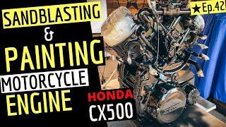 Sandblasting & Painting a Motorcycle Engine | Wrinkle Paint