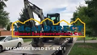 My Garage Build Time Lapse Episode 1 Excavation and Concrete Pouring of Footings for Foundation