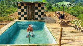Build The Most Amazing Swimming Pool Around The Bamboo Villa House By Ancient Skill