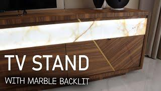 Making a TV stand with marble backlit   Тумба под телевизор. Мрамор с подсветкой.