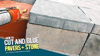 """How to Cut Patio Stones by Handand Glue Pavers to Wood - Using PL3 and 4"""" Angle Grinder"""