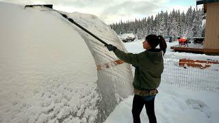 First Snow at the Off Grid Cabin   Tiny Home Loft Tour