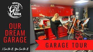 Garage tour with The Girl On A Bike - build from scratch ourselves this is our dream garage