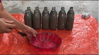 Great Idea - Make Cement Flower Pots From Plastic Bottles Decorating Your Garden