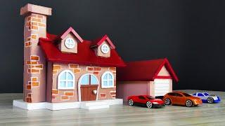 How to Build a Mini House and Garage From Cardboard - DIY Cute GARAGE -   Model 64