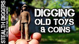 Digging Old toys old coins metal detecting 1800s