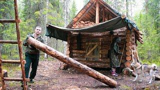 Build log cabin in taiga. Making a new floor. Cooking on the fire. Part IV