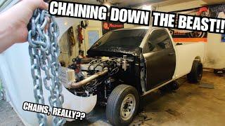 Solving WILD 4x4 Launch Problems With CHAINS?? On The Cummins Drag Truck Build