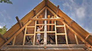 Building Off Grid LOG CABIN / Closing the Sides using HAND TOOLS!  (S 2 Ep 14)