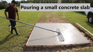 #125 Pouring a small concrete slab, Storm shelter build #1. John deere 4066R