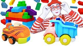 Kids pretend play car game for kids! Clown builds a new garage for a toy car.