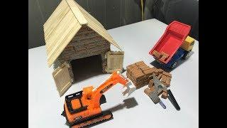 HOW TO BUILD A BRICK WALL BRICKLAYING !@@! How to build a MINI GARAGE for CRANE MACHINE!!!