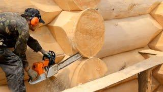 Amazing Fastest Log Cabin Build Chainsaw Skills - Building Dream Wooden House With Your Own Hands