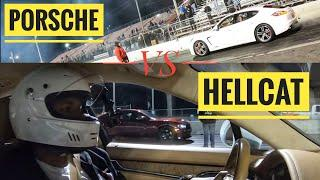 Stock Hellcat Calls Out A Twin Turbo Porsche Owner On The Drag Strip