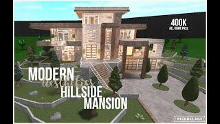 Bloxburg | Modern Aesthetics Hillside Mansion | All Game Pass | Speed Build | 400k