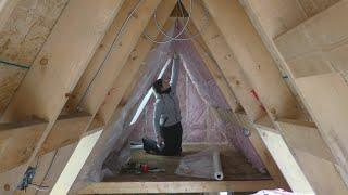 (#17) Off Grid A-Frame Cabin Build -  Venting, Insulating and Installing Custom Triangle Window.