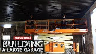 Building a Large Garage 12:  Installing a Black Metal Ceiling and Insulation