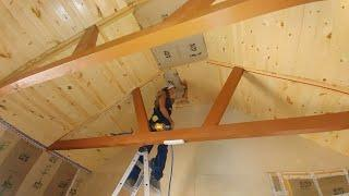 Off Grid Cabin Build | Knotty Pine Ceiling | Episode 23