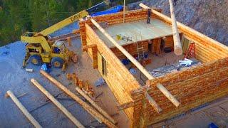 Building a Beautiful Off Grid Log Home in 2 months ! Amazing Wooden House Construction Project !
