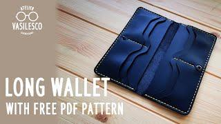 [LeatherCrafting] Making a Leather Long Wallet / Free Pattern