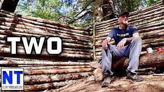 second day second wall building a bushcraft camp NH woods & how to using dead wood