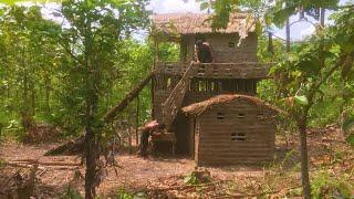 Build Two Story Mud House With Twin Water Slide (part 2)