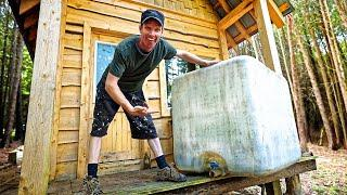 Building Rainwater Collection System (in a thunderstorm)! | Off Grid Cabin Running Water Harvesting