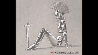 HOW TO DRAW A WOMAN WARRIOR WITH ARMOR - On gray paper